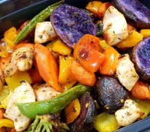 Lemon Herb Chicken with Rainbow Veggies