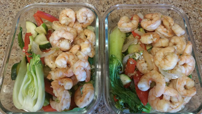 Two packaged shrimp meals