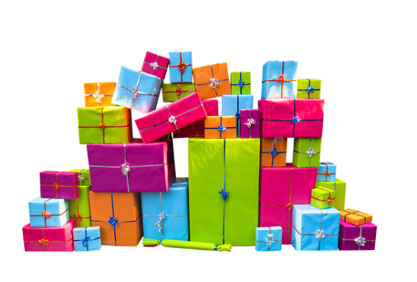 a pile of wrapped gifts