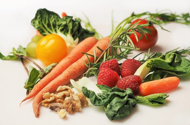 vegetables and fruits on a counter